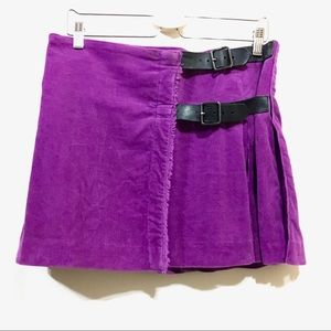 Burberry orchid purple pleated corduroy wrap skirt